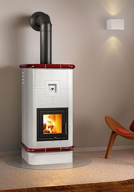 ceramic wood stove with red heart deco