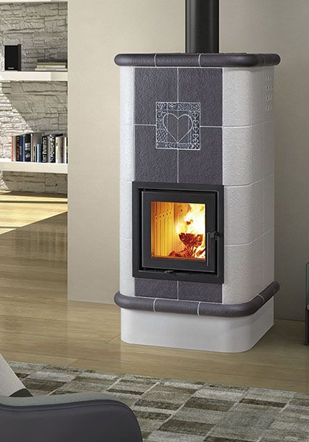 grey and white ceramic wood burning stove