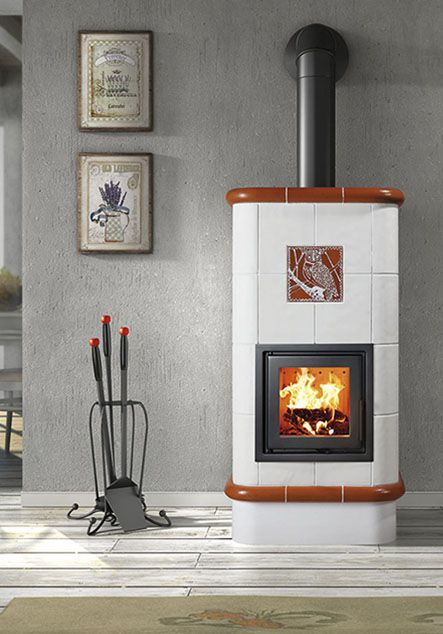 ceramic wood burning stove with owl deco