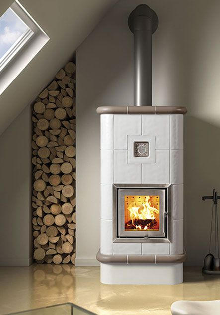 ceramic wood burning stove with sunflower deco