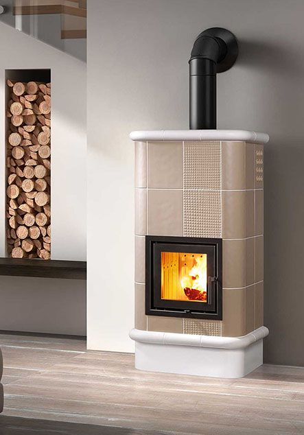 ceramic wood stove with Trama effect