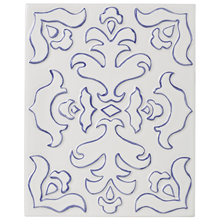 white and blue decorative tile