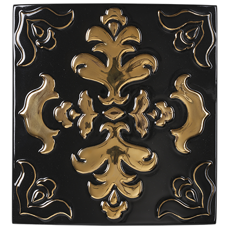 black and gold decorative tile