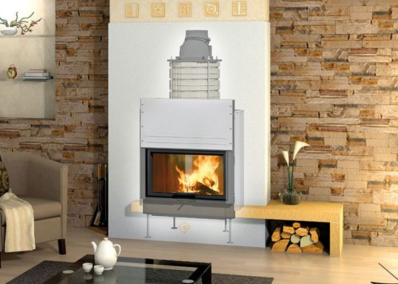 heat storage fireplace with Durasic® rings