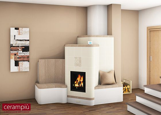 ceramic tile wood stove with seat