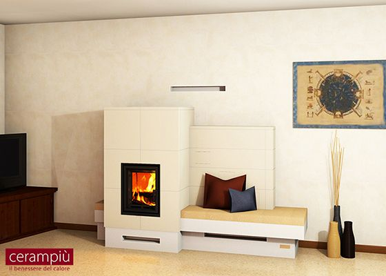 ceramic tile stove with wood seat