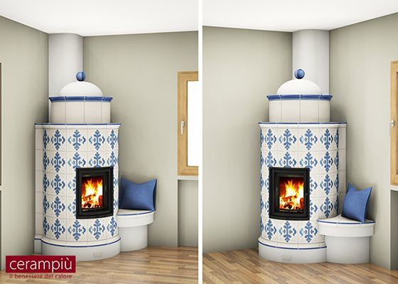 white and green ceramic tile wood stove