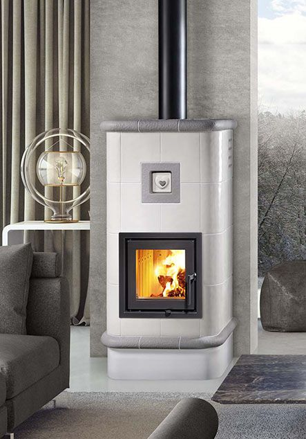 ceramic wood burning stove with heart deco